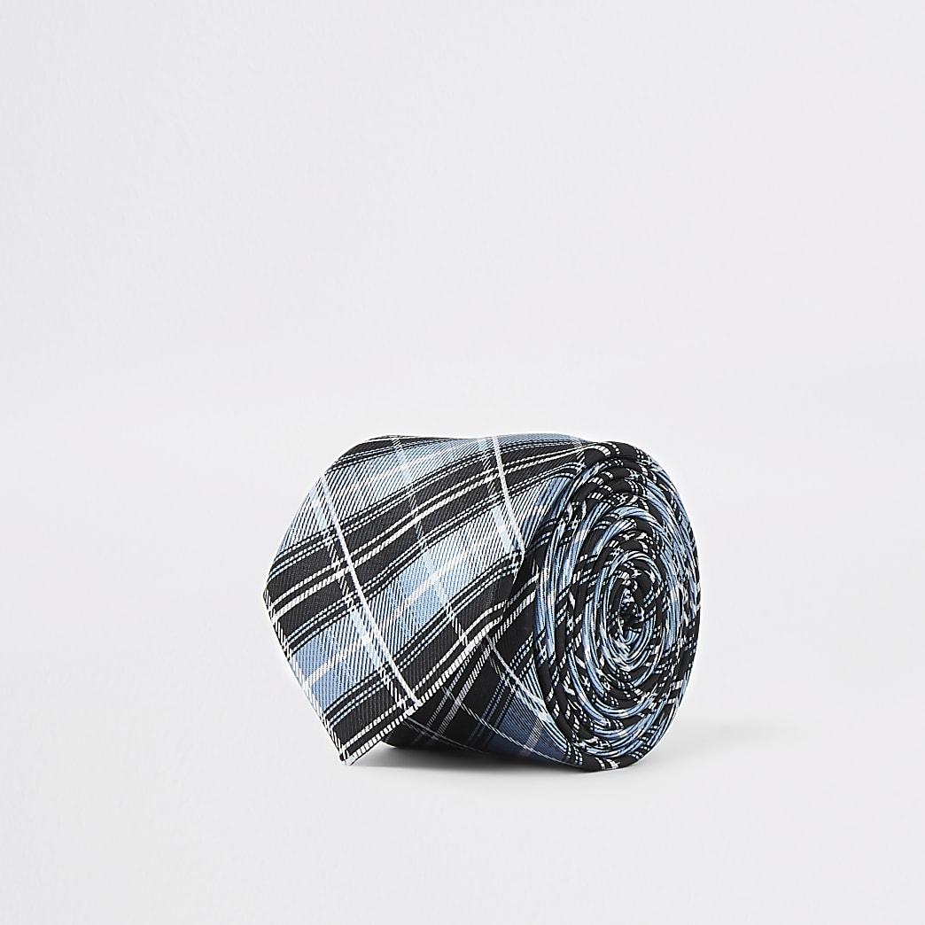 Blue check print tie