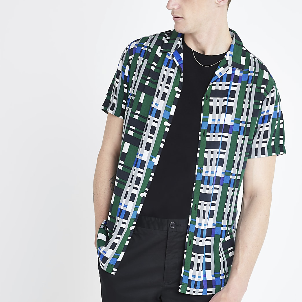 Blauwgeruit overhemd met korte mouwen en normale pasvorm