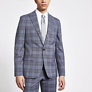 Blue check single breasted skinny suit jacket