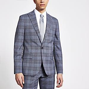Blau karierte, einreihige Skinny Fit Anzugjacke