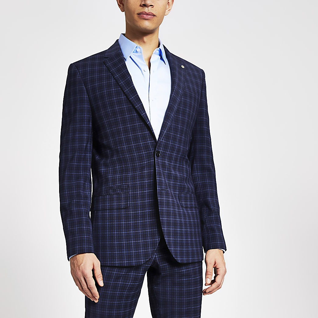 Blue check skinny suit jacket