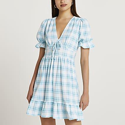 Blue check v-neck mini dress