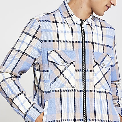 Blue check zip front long sleeve shacket