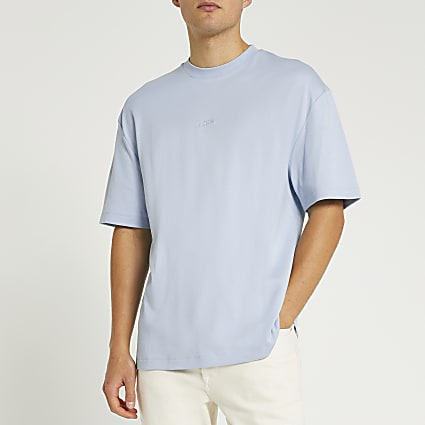 Blue chest embroidered oversized fit t-shirt