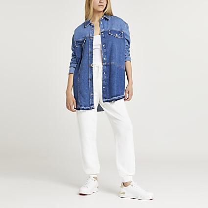 Blue chest pockets denim shirt