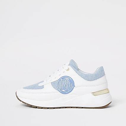 Blue chunky branded lace up trainers