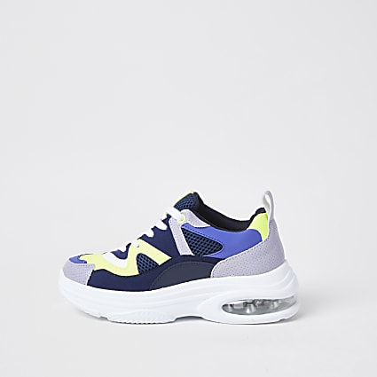 Blue chunky bubble sole trainers