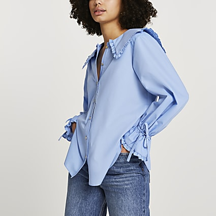Blue collar frill tie cuff shirt