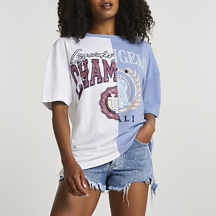 Blue collegiate oversized t-shirt