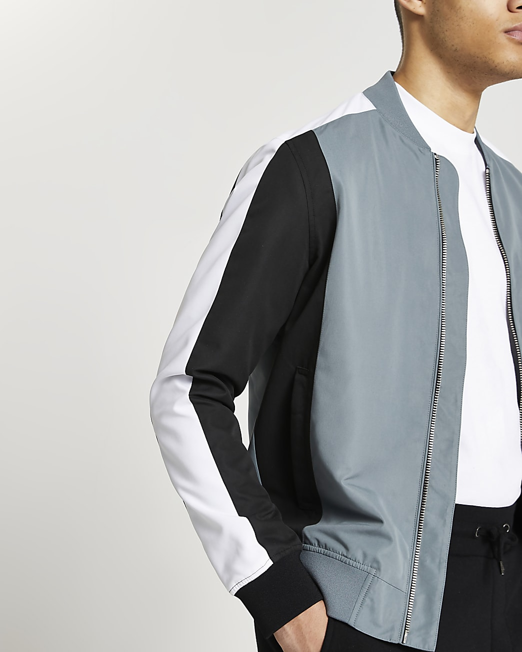 Blue colour block bomber jacket