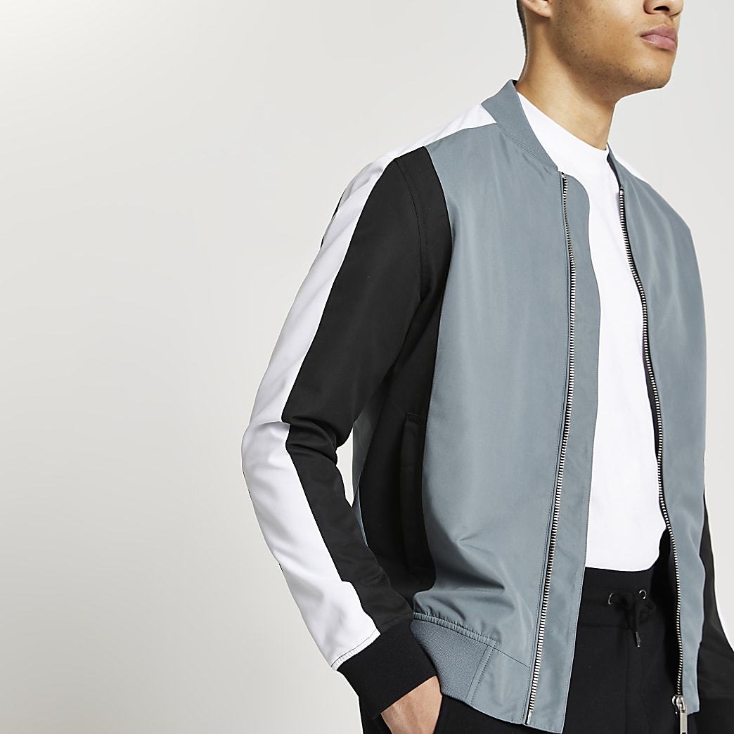 Blue colour block bomber jacket