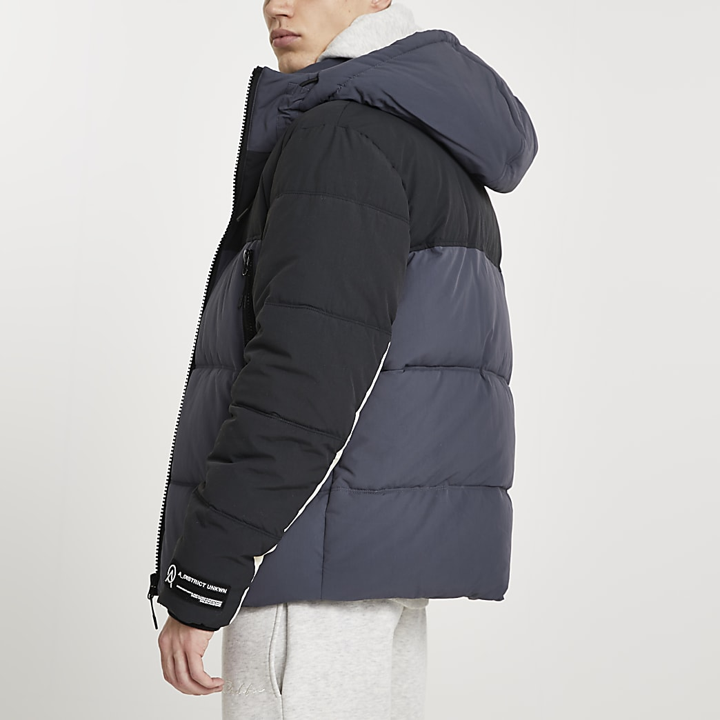 Blue colour block hooded puffer jacket