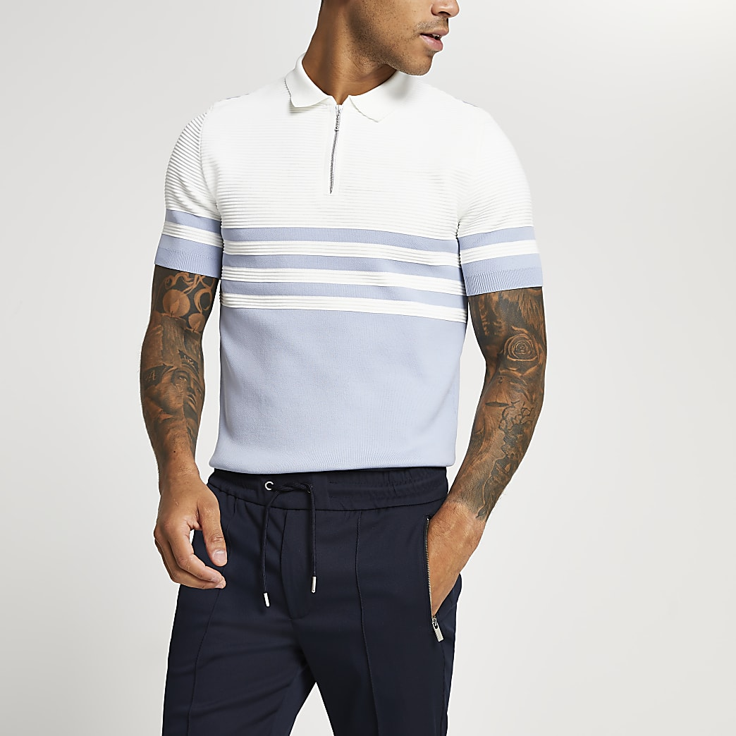 Blue colour block muscle fit polo shirt