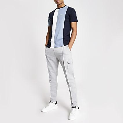 Blue colour block slim fit T-shirt