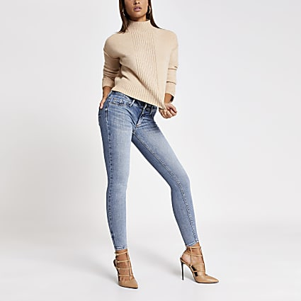 Blue comfy low rise jean
