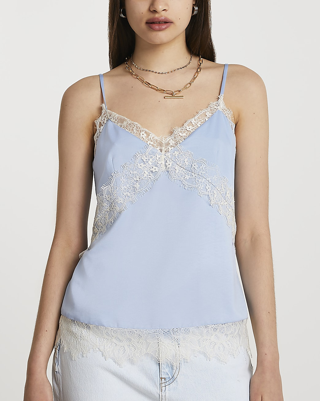 Blue contrast lace insert cami top