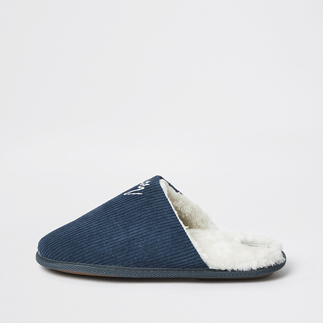 Blue cord mule slipper
