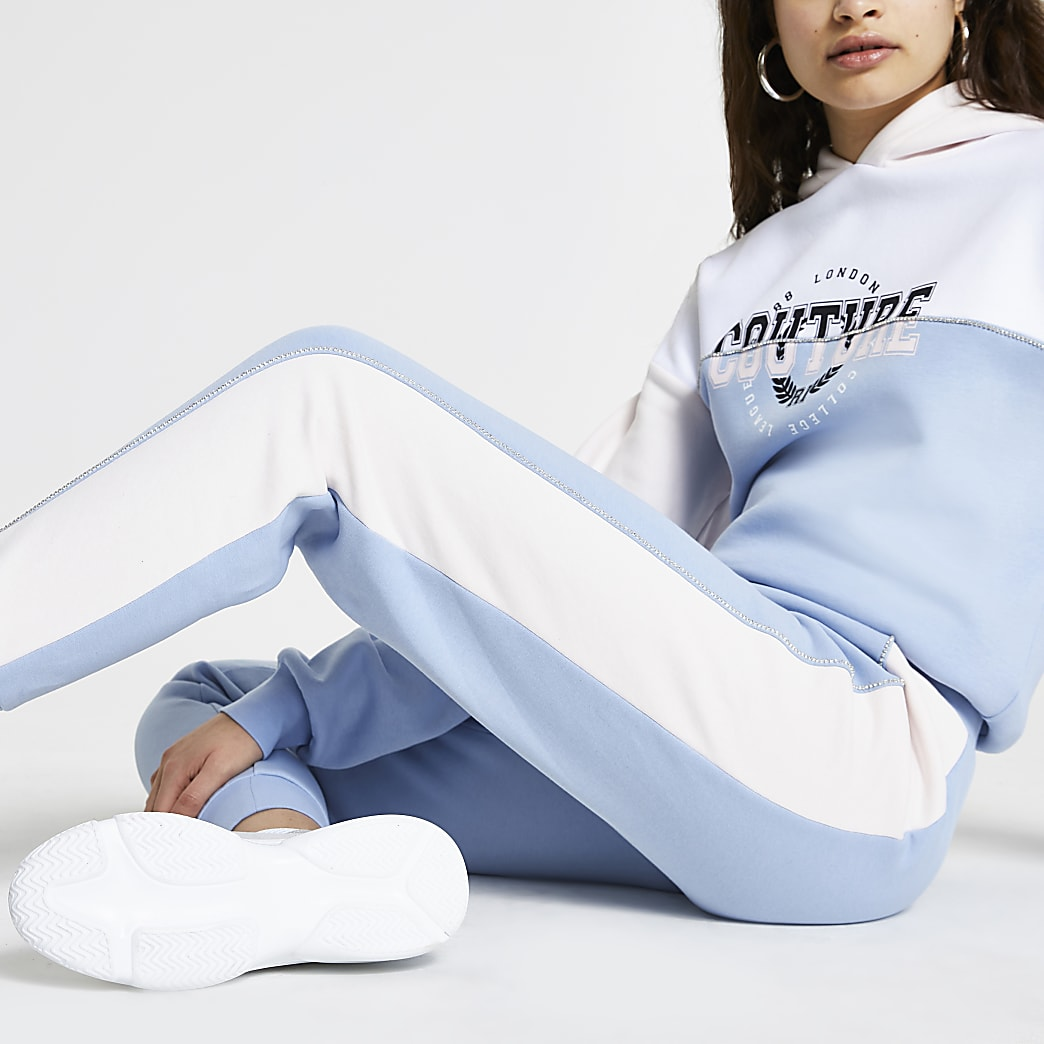 Blue 'Couture' colour block joggers