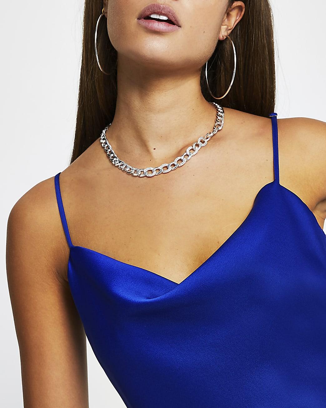 Blue cowl neck sleeveless cami top