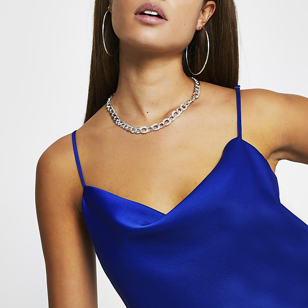 Blue cowl neck sleeveless cami top