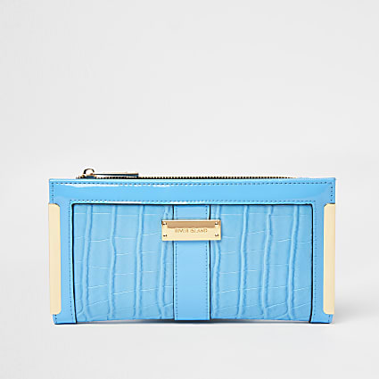 Blue croc embossed foldout purse