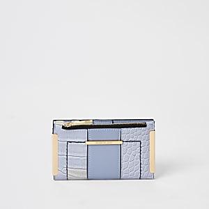 Blaue, aufklappbare Mini-Geldbörse mit Krokoprägung
