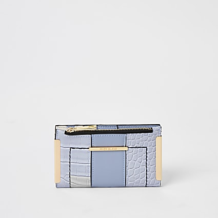 Blue croc embossed mini fold out purse