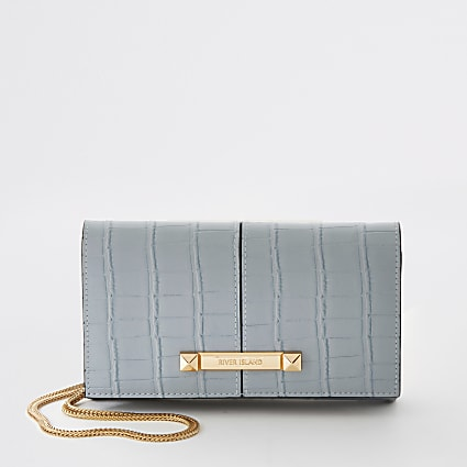 Blue croc embossed underarm clutch handbag