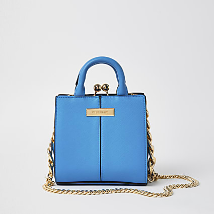 Blue croc mini lady handbag