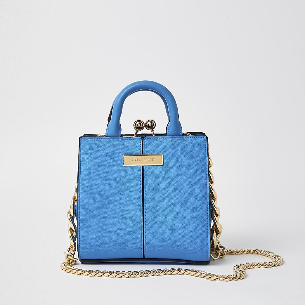 Blue croc mini lady tote bag