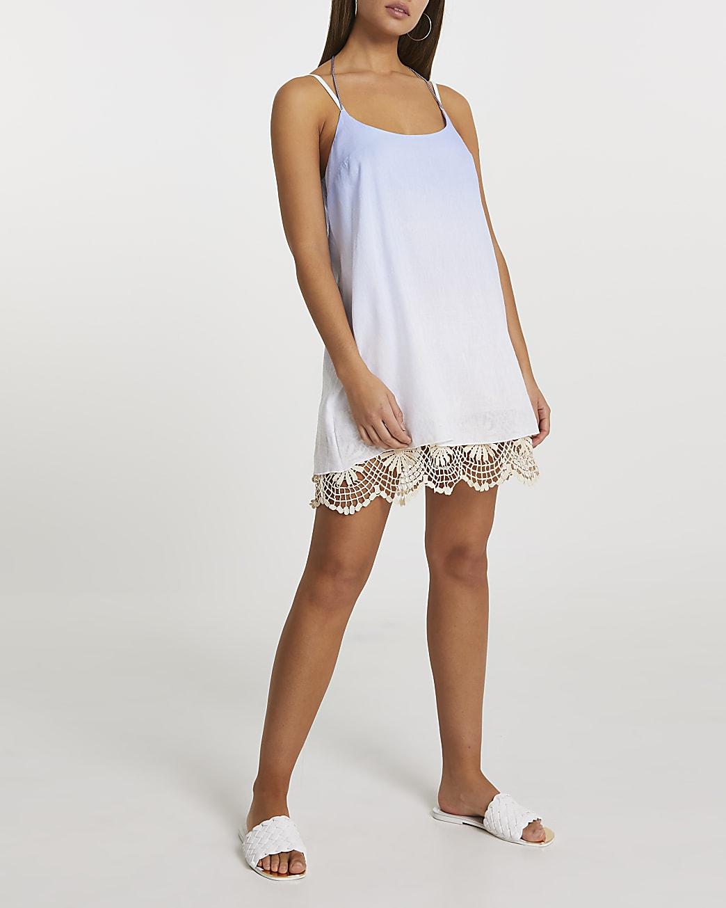 Blue crochet mini beach dress