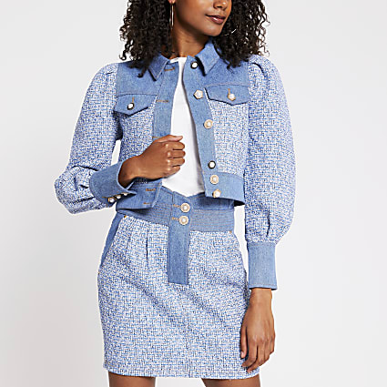 Blue cropped boucle mix denim jacket