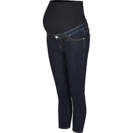 Blue cropped mid rise skinny maternity jeans