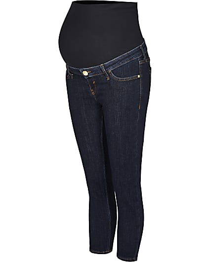 Blue cropped skinny maternity jeans