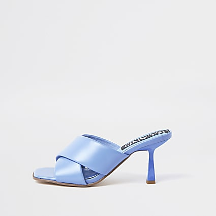 Blue cross strap mule