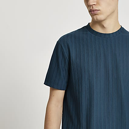 Blue curve hem ribbed slim fit t-shirt