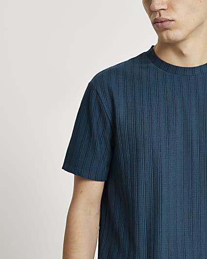 Blue curve hem ribbed slim fit t-shirt
