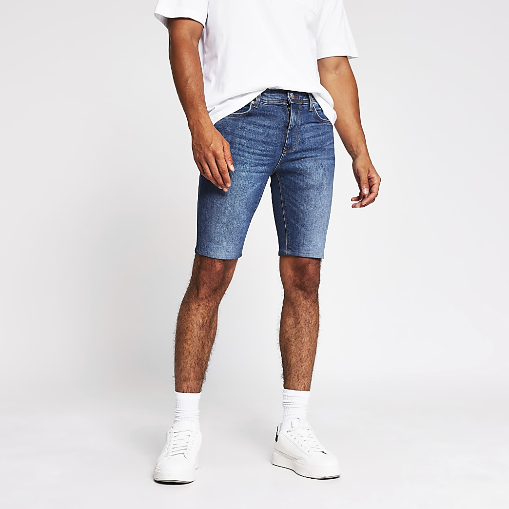 Blue cut off Sid skinny denim shorts