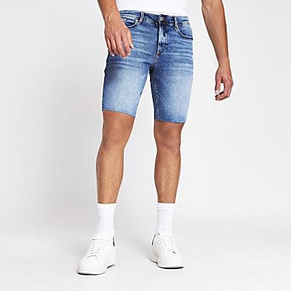Blue cut off Sid skinny denim shorts