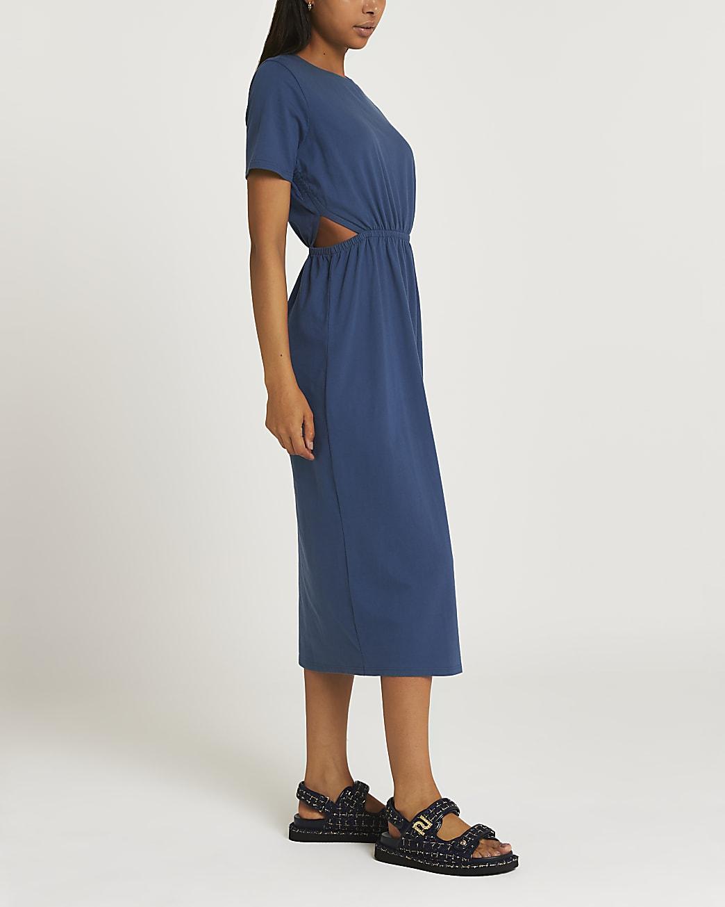 Blue cut out midi t-shirt dress