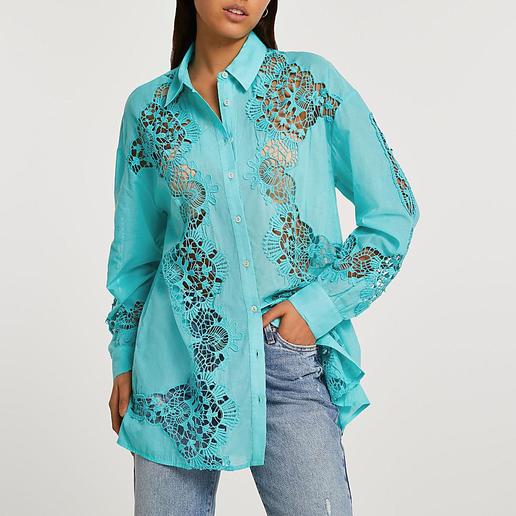 Blue cutwork long sleeve shirt