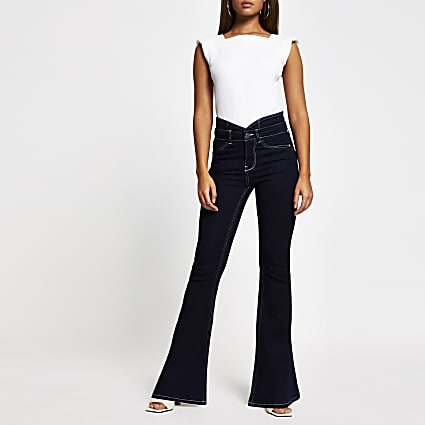 Blue dark denim bum sculpt flare jeans