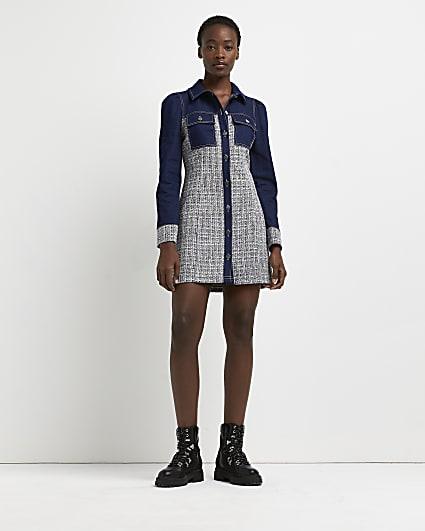 Blue denim and boucle mini dress