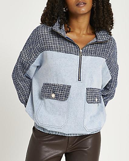 Blue denim and boucle zip hoodie