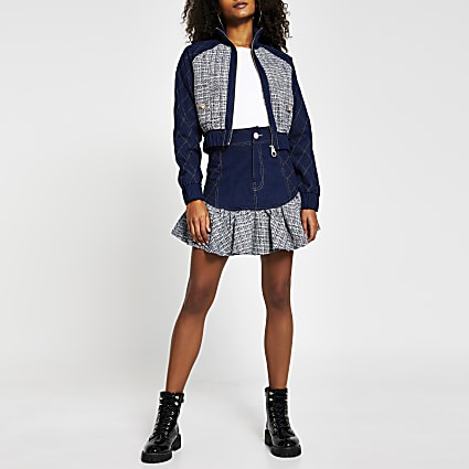 Blue denim boucle crop bomber jacket