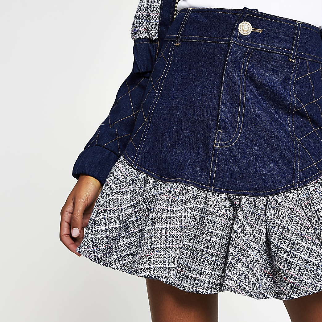 Blue denim boucle frill mini skirt