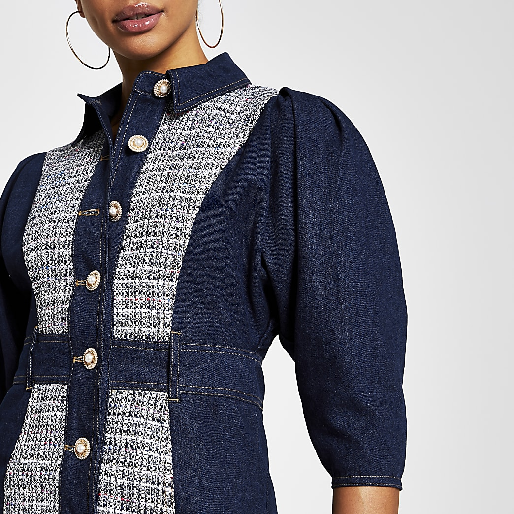 Blue Denim boucle Mix mini Shirt dress