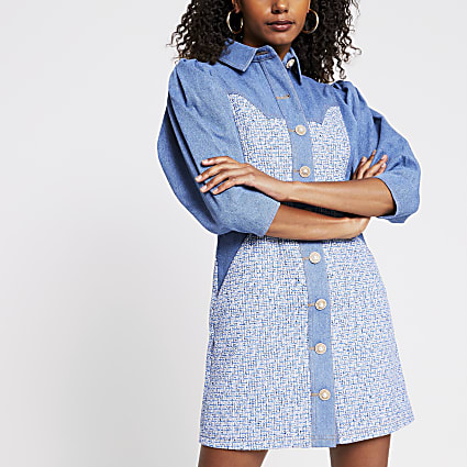 Blue denim boucle mix shirt dress