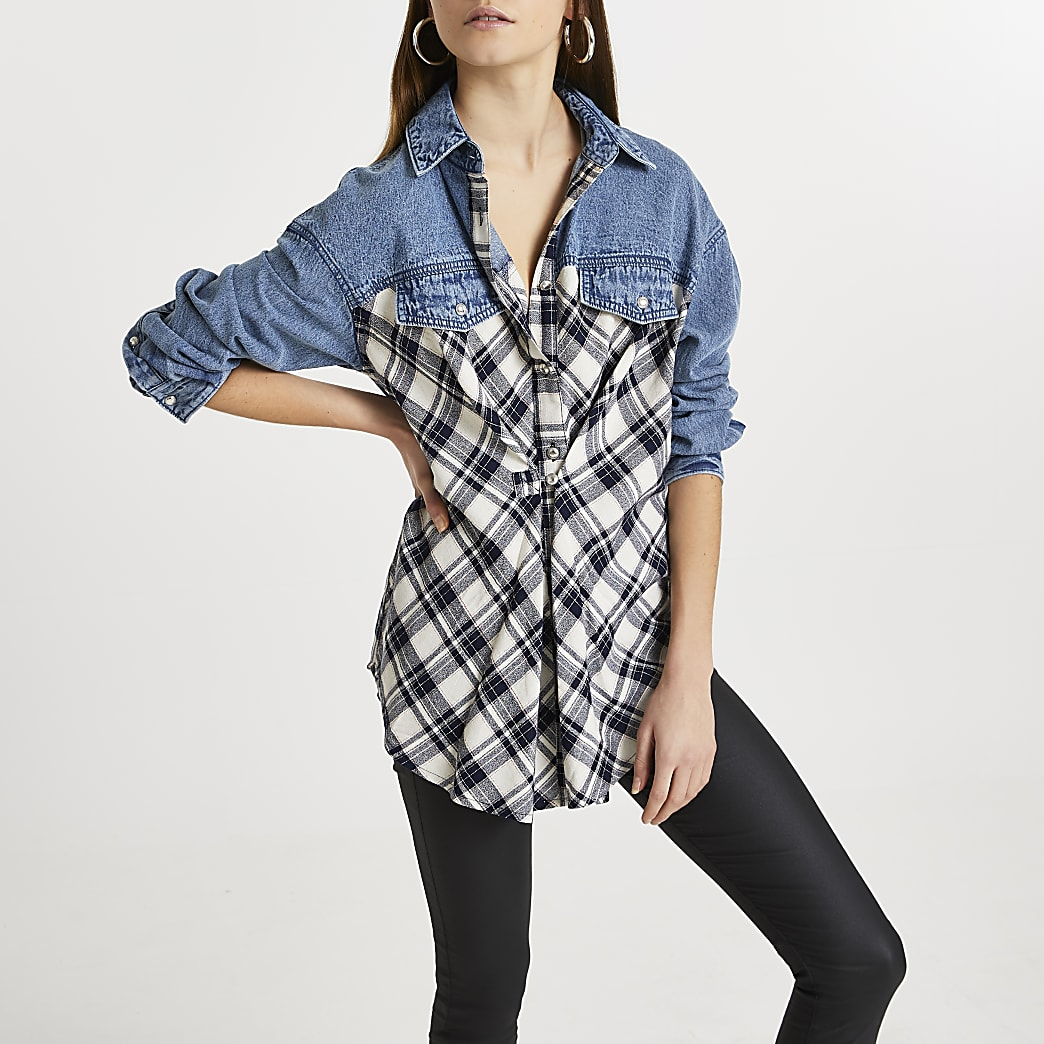 Blue denim check print shirt