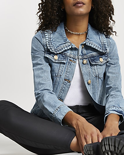 Blue denim collared fitted Jacket